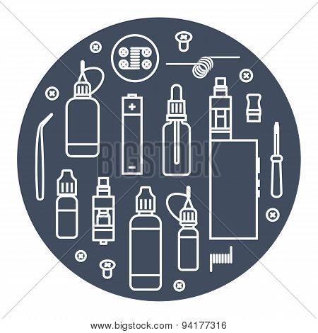 Vector icons set of vaporizer and accessories. White outline print on a dark background poster