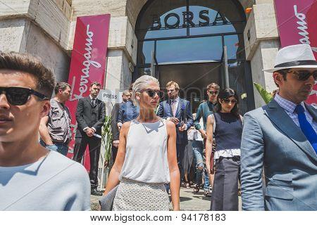 People Outside Ferragamo Fashion Show Building For Milan Men's Fashion Week