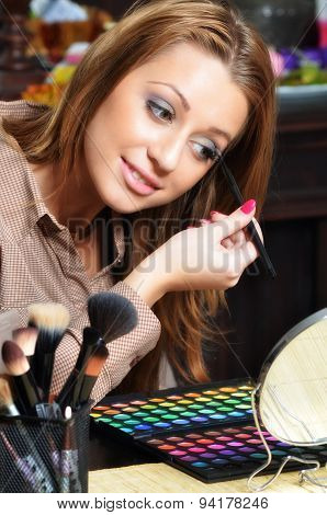 Beautiful Elegant Lady Putting Make Up At Home