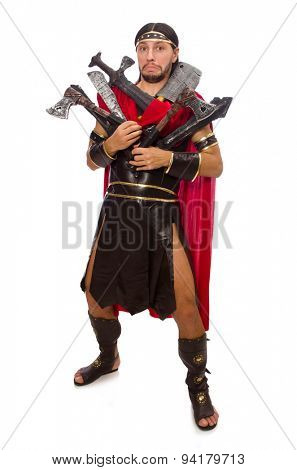 Gladiator with armament isolated on white