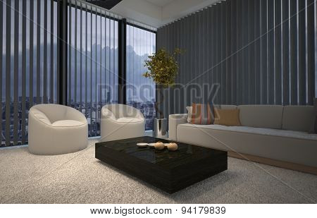 Evening in a modern comfortable living room lit by a warm welcoming glow with armchairs and a sofa in front of large floor-to-ceiling windows with venetian blinds. 3d Rendering.