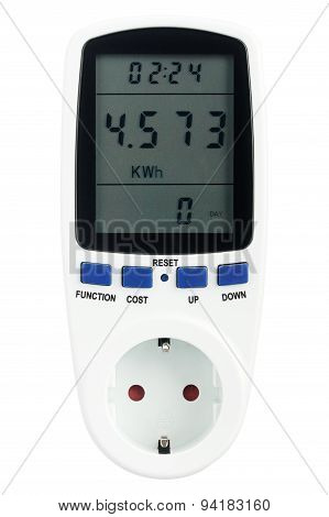 Digital portable power meter isolated on white background poster