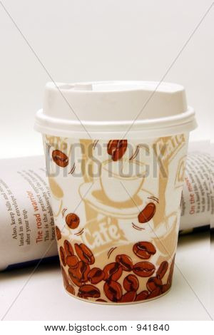 Styroform Coffee Cup With Newspaper