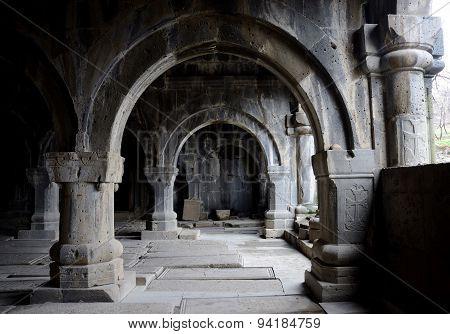 Colonnade inside medieval christian church of Sanahin Monastery complex,unesco heritage Armenia,Asia