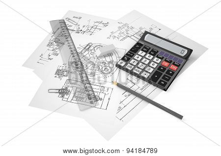 Drafting Calculation And Construction Concept