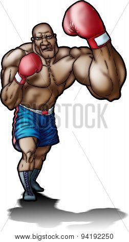 Extreme boxer throwing a uppercut