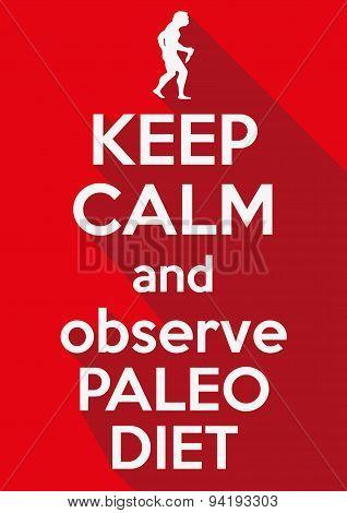 Flat design Keep Calm and observe Paleo Diet