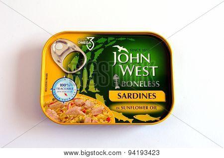 BRACKNELL, UK - JUNE 18 2015: John West Boneless Sardines in Sunflower Oil.