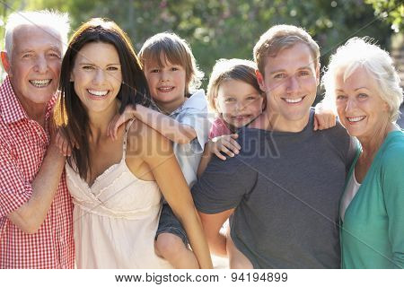 Portrait of Three Generation Family In Countryside
