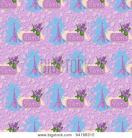 Colorful Vector Background Of Tower Eiffel.