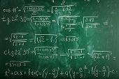 Math formulas on blackboard background poster