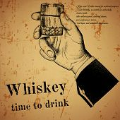 Hand holding an alcoholic drink, offset printing design poster