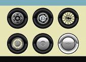 Vector set of 6 retro car wheels poster