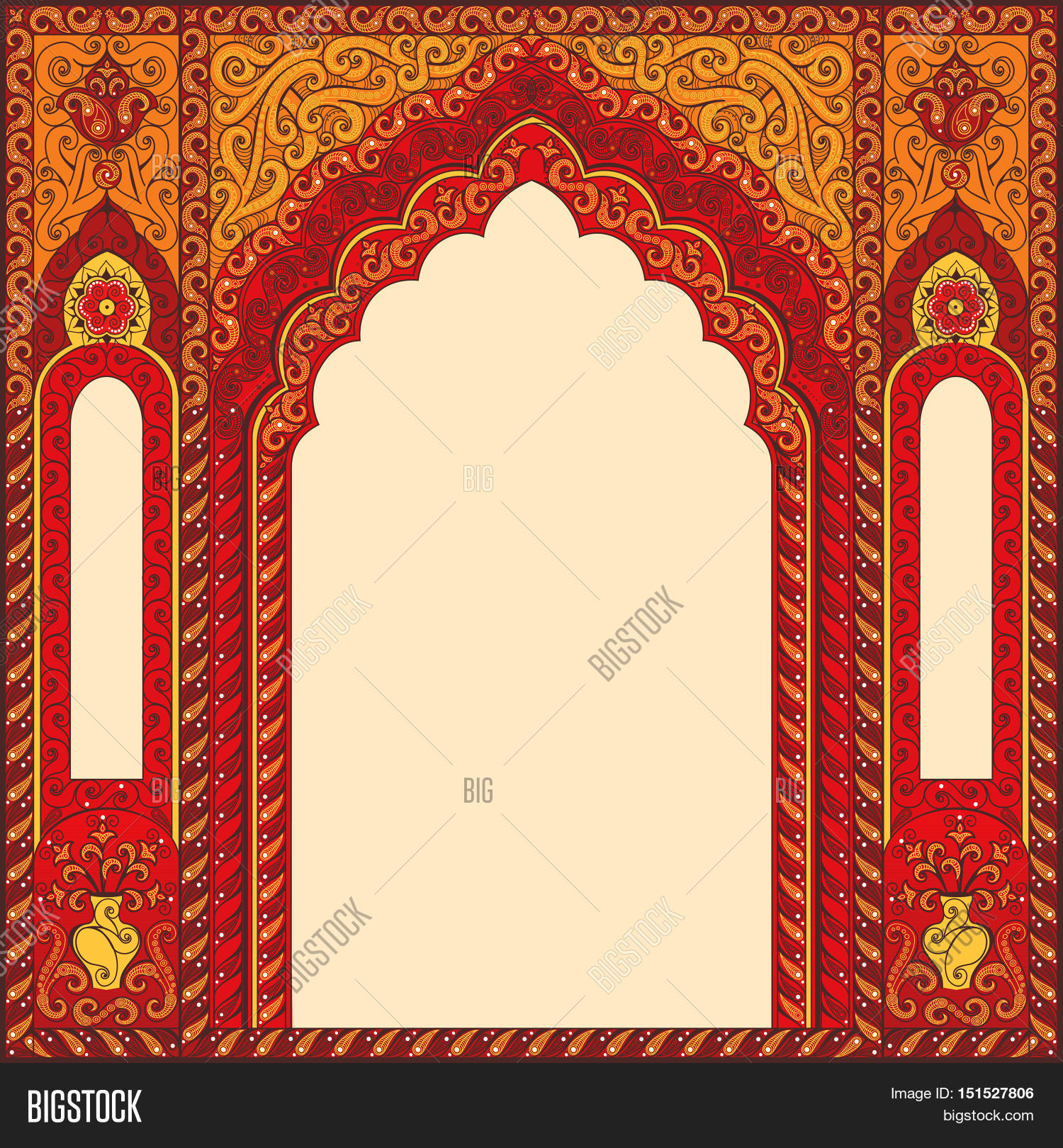 Eastern red frames arch template vector photo bigstock eastern red frames arch template design elements in oriental style floral frame for stopboris Choice Image