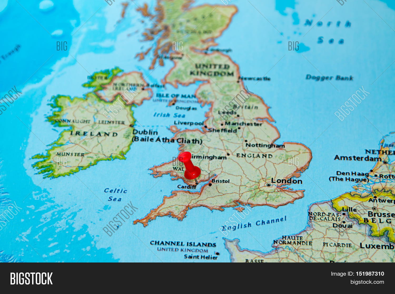 Cardiff uk pinned on map europe image photo bigstock cardiff uk pinned on a map of europe gumiabroncs Choice Image