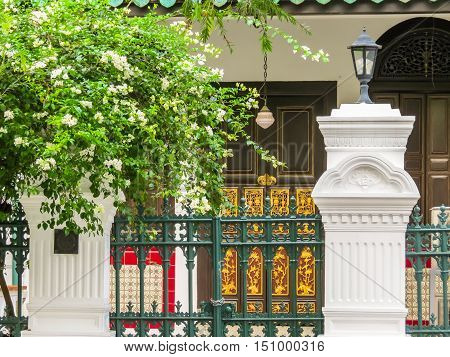Details of house of Chinese Baroque architecture in Emerald Hill, Singapore