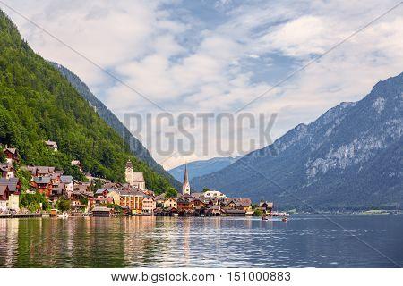 Hallstatt Village view by the Hallein Salt Mine near Salzburg Austria
