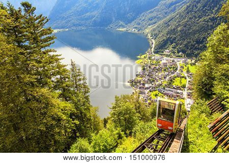 Upper view at Hallstatt Village with cable car cabin by the Hallein Salt Mine near Salzburg Austria
