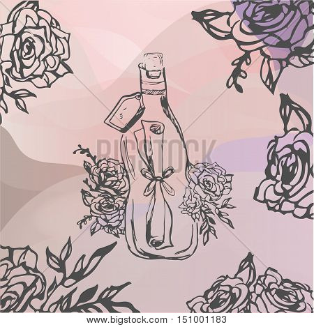 letter wrapped in bottle. Tattoo romance and adventure collection. Vintage style. Hand drawn vector illustration.