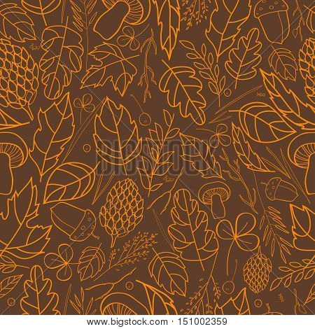 Vector pattern of autumn leaves, berries, grass blades, cones, acorns autumn elements and templates. light brown, orange on a dark brown background. autumn hipster background. Bright pattern. Autumn template