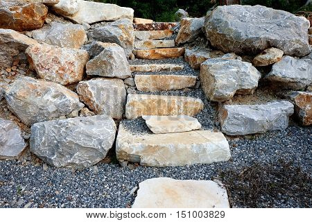 Stairs made of natural stone. Textured abstract background