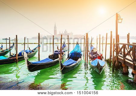 Grand Canal And Gondolas In Venice, Italy