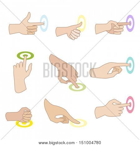 Set of hand gestures with showing direction of movement of fingers. Hand signs (press, push, sliding, click, touch). Flat icons. Vector illustration isolated on white background.