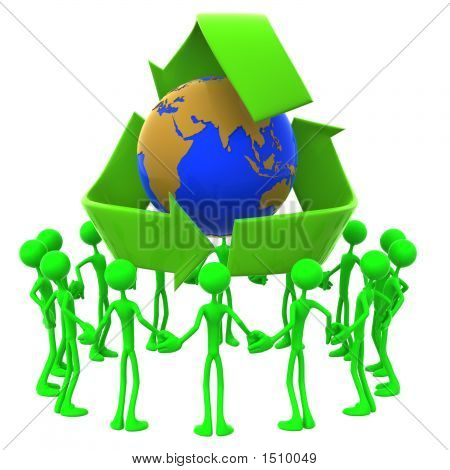 Earth Day Recycling Unity Crowd Concept