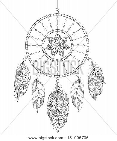 Vector illustration of dreamcatcher on white background.Coloring book for adult.