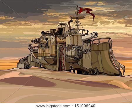cartoon fantastic military armored train with guns in the desert