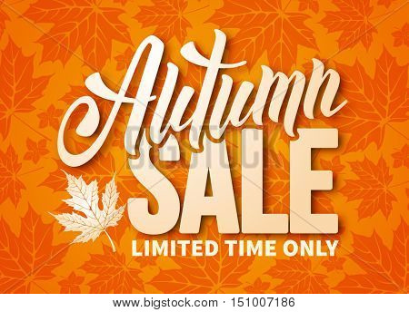 Seasonal autumn sale ad banner with autumn maple leaves. Lettering with calligraphic inscription Autumn Sale. Vector stock illustration.