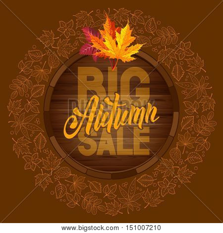 Autumn sale ad banner with rounded design and line art autumn leaves. Lettering with calligraphy inscription Autumn Sale. Vector stock illustration.