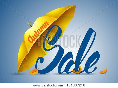 Seasonal autumn sale background with autumn leaves and yellow umbrella. Lettering with calligraphic inscription Autumn Sale. Vector stock illustration.