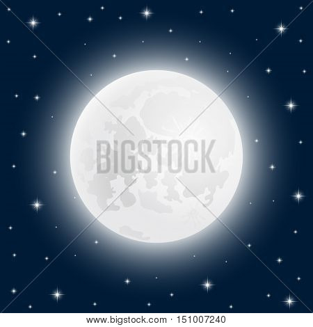 Moon close up at the sky with shining stars, vector illustration