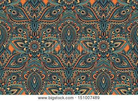 Vector seamless pattern with hand drawn henna mehndi floral elements. Beautiful colorful endless background in oriental indian style