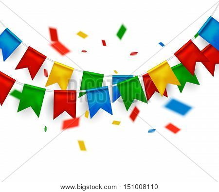 celebrate banner party flags with confetti on white background. Vector illustration