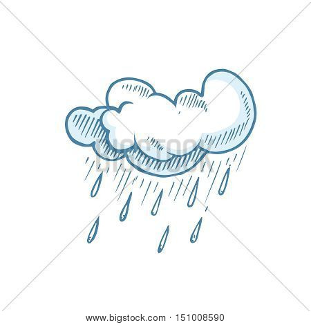 vector Doodle of Hand Drawn cumulonimbus Clouds. Illustration of rain isolate on white background.
