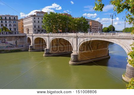 Ponte Cavour Bridge in Rome on the River Tiber Italy