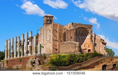 Ancient ruins of Hierapolis in Rome near 'Colosseo' metro station Italy