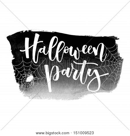 Halloween party white hand lettering inscription with spider and spiderwebs on black grunge banner background
