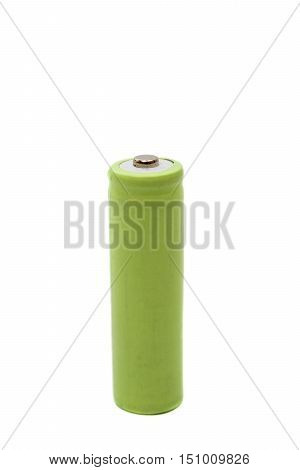 Rechargeable AA battery isolated on a white background