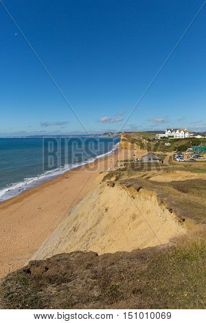 Burton Bradstock Dorset England uk beautiful jurassic coast with blue sky and sea in summer