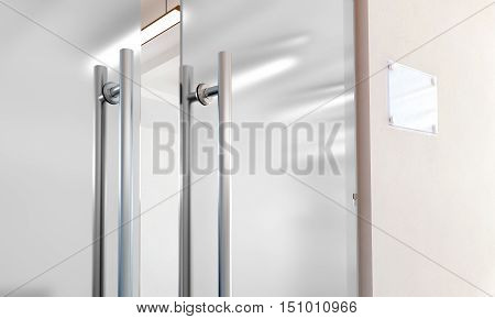 Blank glass door with metal handles mockup 3d rendering. Office entrance with space sign board on wall mock up. Opened luxury hall doorway with transparent surface for your company logo design.