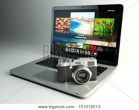 Photo camera and laptop with image viewer on the screen. Digital photography workstation concept. 3d illustration