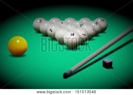 Vector realistic russian billiards. Billiard balls and cue on the table.