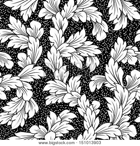 seamless baroque leaves ornament black floral background