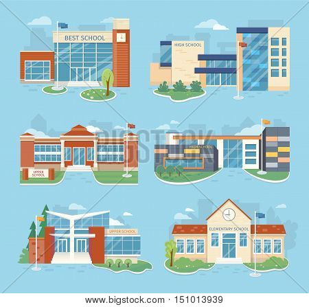 Set of school buildings vector illustrations. Flat design. Architectural variations. Public educational institution. Various modern projects of educational establishments. School facades and yards