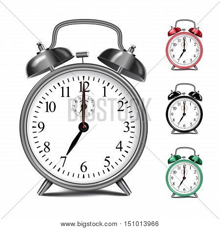 Vector realistic alarm clock template. Movable watch arrows. You can change color, just use layers