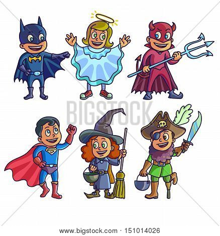 Happy halloween. Set of cartoon cute children in different costumes batman, witch, angel, devil superhero and pirate. Vector Illustration.