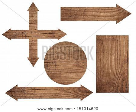 Set of old weathered wooden roud sign, arrow, chopping board isolated on white background.